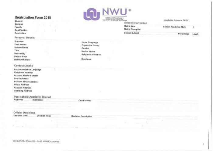 Re-Registration | M & D Programmes | Theology | NWU | North ...